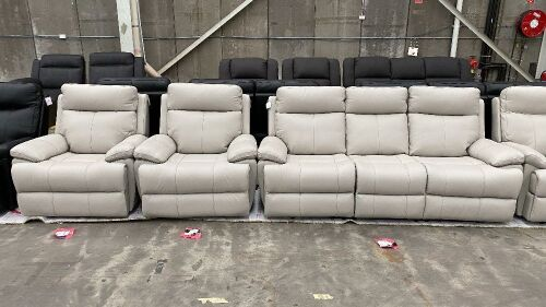HAILEBURY 3Seater Recliner + 2 x Single Recliners *LT GREY