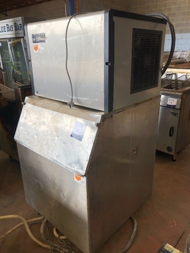 Ice O Matic Ice Machine on Stainless Steel Catchment Cabinet, Model: ICE0305FA5, Serial No: 15091280010538