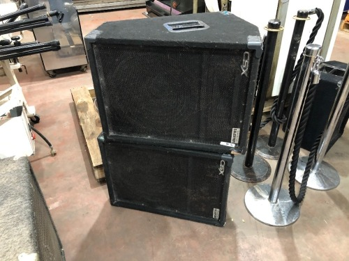 2 x CSX Wedge Speaker Boxes powered by Celestion Timber Case