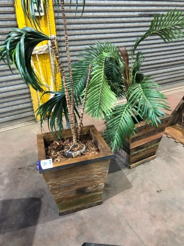 2 x Artificial Plants in Timber Planter Pots