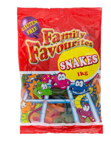 500 x 1kg bags of Family Favourites snakes comprising 50 Boxes of 10x 1kg bags per box, total 500 bags.