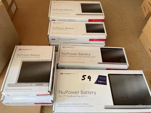 Quantity of 9 x assorted Newertech MacBook Pro batteries