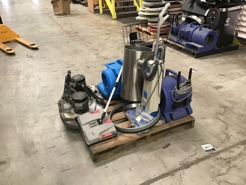 Misc. Pallet of Commercial Cleaning Products - Bins, Floor Cleaners and Floor Dryers