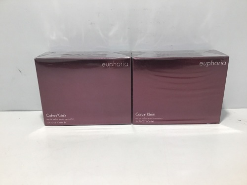 Twin Pack - 2 x Calvin Klein Euphoria for Women Eau de Parfum 100ml Spray