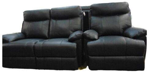 Dusty Leather Two Seater Electric Recliner + Single Seater Recliner - Black