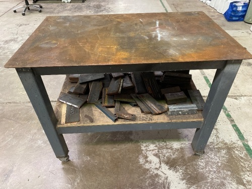 Steel Heavy Fabrication Table on wheels with plate off cuts.