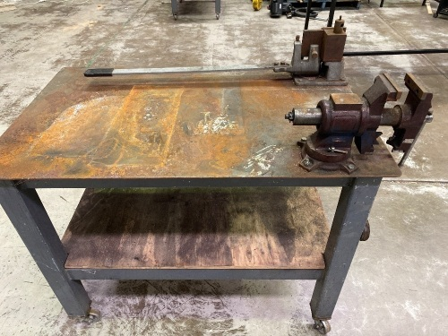 Steel Heavy Fabrication Table on wheels with vice and plate bender.