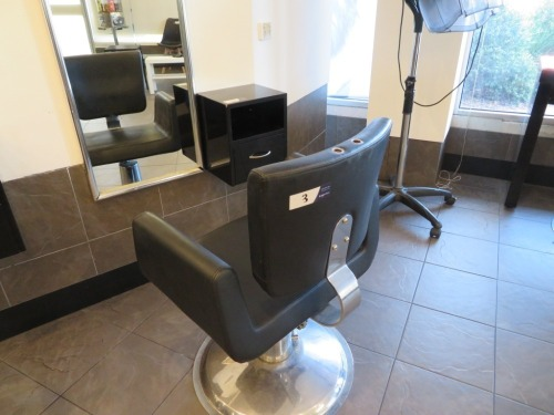 Adjustable height Hairdressing Chair upholstered in Black Vinyl and small wall mounted Equipment Console