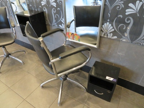 Swivel Hairdressing Chair, Chrome frame upholstered in Black Vinyl with small wall mounted Equipment Console