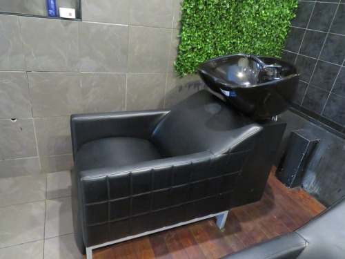 Hair Wash Station comprising Black Bowl, Tap & Shower Head with Black Vinyl upholstered Chair with adjustable leg rest