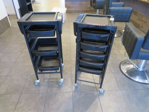2 x Mobile Multi Drawer Work Trolley's, 420 x 370 x 920mm H