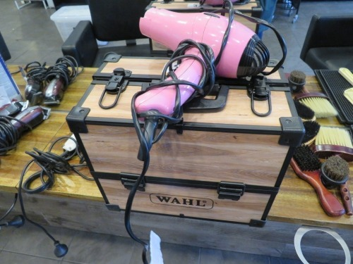 Wahl Components Box with assortment of Clippers, Comb attachments and Pink Wahl Hair Dryer