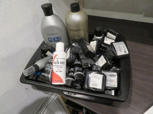 Scruples Menz assorted Hair Colours & Treatments in Tray. Approx 40 items