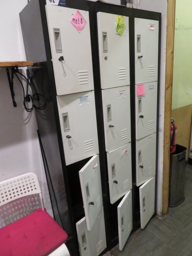 Bank of 12 Personal Lockers, Metal construction