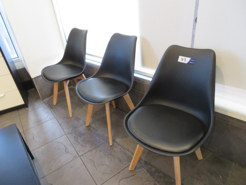 3 x Jaxon Dining Chairs, Timber Base Moulded Plastic Shell with Padded Seat