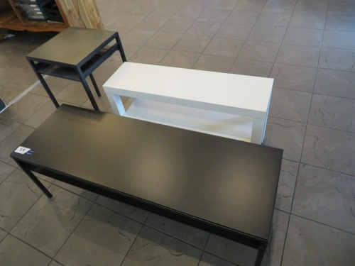 3 x assorted Small Tables, 2 x Black, 1 x White