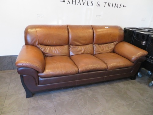 3 Seater Brown Leather Couch, Dark Timber Frame, 2200 x 900 x 1000mm H