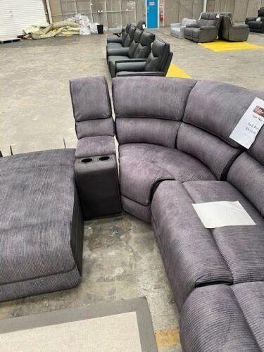 DNL BOURBON Fabric Modular Lounge - Right Hand Facing - SLATE. - Missing 1 Back Rest & right end piece