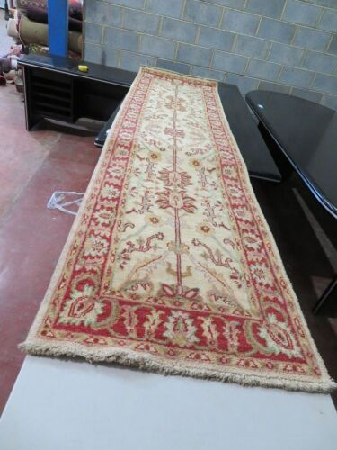 Persian Rug, KD7FREA8 Hallway Runner, Cream, Greens, Red, Floral Wool Pile Chobe Afghanistan, 3030mm L x 780mm W