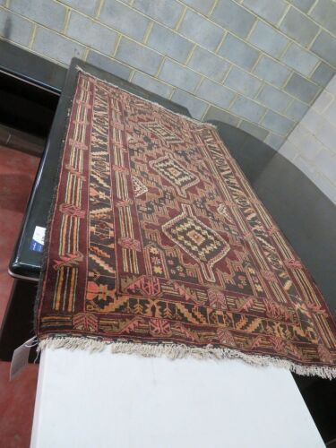 Persian Rug, K8PLM2AK, Natural Raw Fibres, Reds, Browns & Green, Boluchi Design Afghanistan, 2000mm L dx 1170mm W