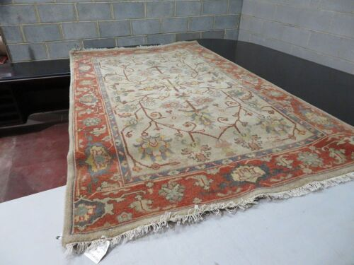 Persian Rug, K2MLXUAH, Beige, Red & Blue, Indo Design Pure Wool Pile Oshak, 2420mm L x 1490mm W