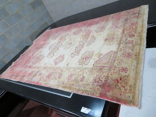 Persian Rug, FK362X35, Cream, Light Blue, Red Afghanistan Pure Wool Pile ZIGER, 2110mm L x 1420mm W (Badly stained Red)
