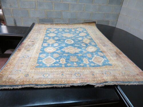 Persian Rug, K2HM9600, Beige, Blue & Gold Afghanistan Pure Wool Pile Z16LER Natural Dye, 1880mm L x 1440mm W (Red stains to rug & border)