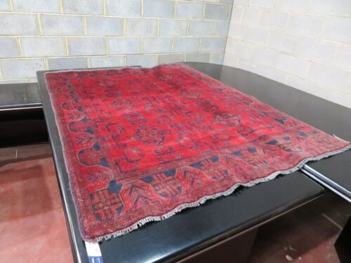 Persian Rug, KVFUEZ1U, Red & Blue Afghanistan Pure Wool Pile GABBEH, 1950mm L x 1480mm W