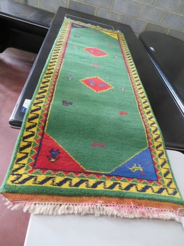 Persian Rug, KWFAV6PL, Hallway Runner, Green, Red, Blue & Yellow India Pure Wool Pile GABBEH, 2000mm L x 720mm W