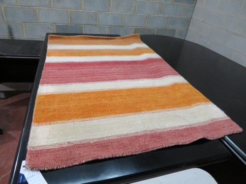 Persian Rug, KDHPUBXC, Orange, Red & Cream Striped Afghanistan Pure Wool Pile GABBEH, 1830mm L x 1180mm W