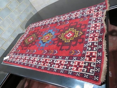 Persian Rug, KN6UH2CN, Red & Blues Afghanistan Pure Wool Pile MESHWANI, 1640mmL x 1140mm W