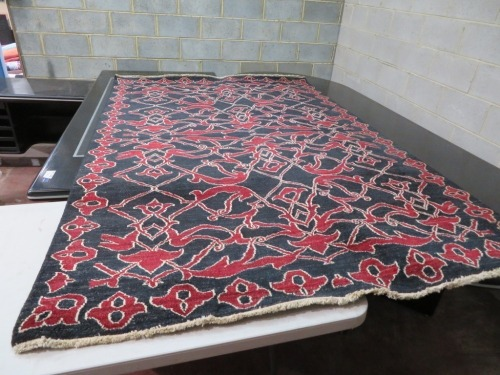 Persian Rug, KF1QKLW3, Black & Red Afghanistan Pure Wool Pile GABBEN, 2560mm L x 1660mm W