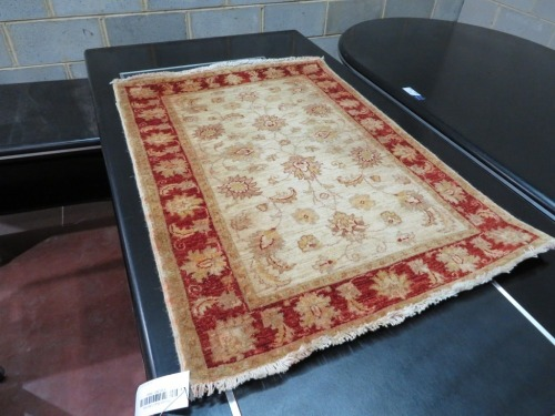 Persian Rug, K361J681, Red & Cream Afghanistan Pure Wool Pile CHOBI, 1200mm L x 860mm W (Stains on Rug)
