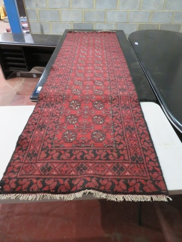 Persian Rug, K9M8P3VF, Black, Red & Cream Afghanistan Pure Wool Pile TURKOMAN, 2760mm L x 870mm W
