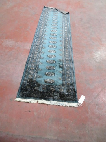 Persian Rug, K852C75K, Hallway Runner, Green Pakistan Pure Wool Pile BAKHARA, 2970mm L x 880mm W (Stained)