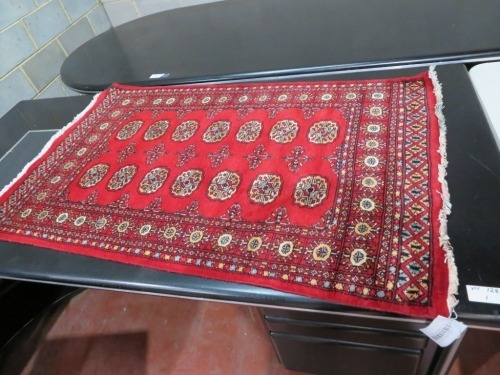 Persian Rug, KCE44ZSM, Red, Black & Beige Pakistan Pure Wool Pile BORHARA, 1510mm L x 940mm W