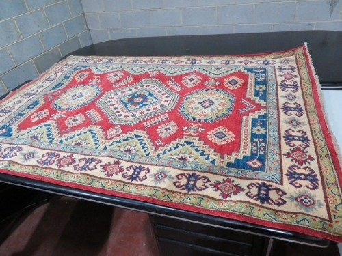 Persian Rug, KMMYQ5BW, Red, Green, Blue & Cream Afghanistan Pure Wool Pile KAZAK, 2220mm L x 1530mm W