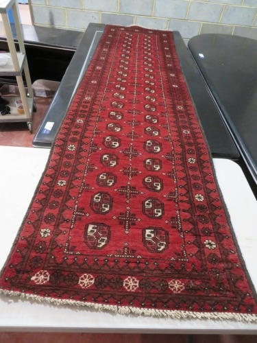 Persian Rug, (No Label) Red, Black & Cream Afghanistan Pure Wool Pile TURKOMAN, 2860mm L x 770mm W